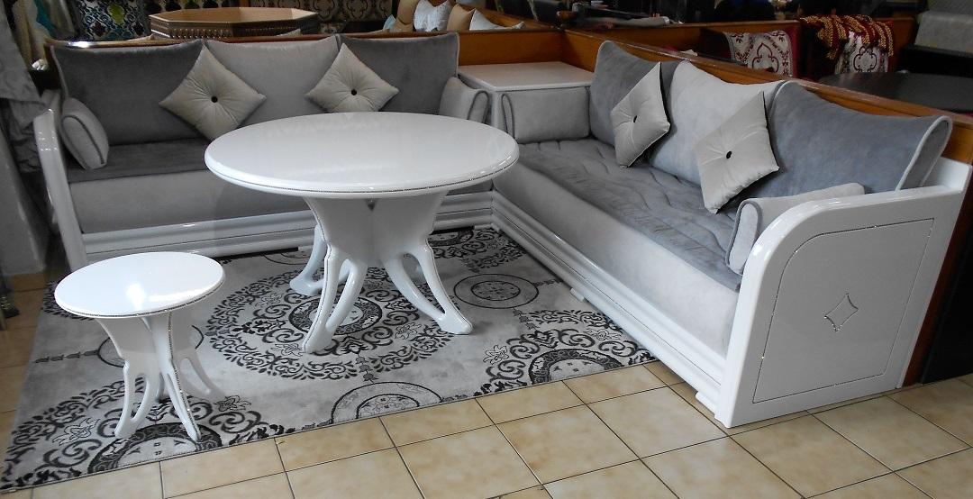 Salon Modele Diamond Blanco Blanc Laque Salon Marocain