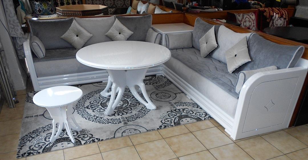 Salon modèle \'\'Diamond Blanco\'\' blanc laqué   Salon marocain