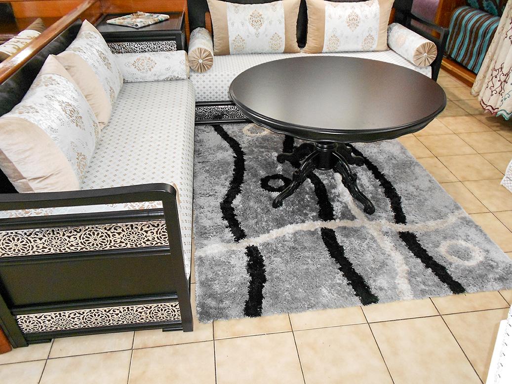 Salon complet mod le aicha noir gris salon marocain for Salon complet gris